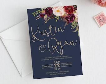 Printable Wedding invitation, wedding invitations, printable invitation, wedding invite, template, navy gold marsala LUCY SUITE