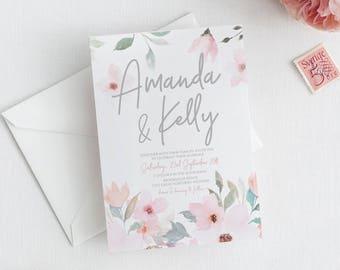 Watercolour Wedding invitation, wedding invitations, printable invitation, wedding invite, template, floral wedding invites RACHAEL