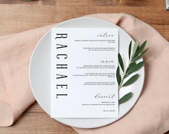 Printable Wedding Menu Place Cards | Wedding Place card Escort Template | Menu Template | Wedding Menu | LILLY