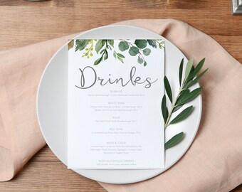 Printable Drinks Menu | Wedding Beverage Menu Template | Botanical Wedding Drinks Menu | Greenery Wedding | BRIBIE