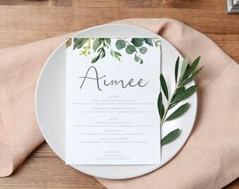 Guest Name Menu | Place card Menu | Wedding Placecard Escort cards | Botanical Greenery  | Rustic Wedding | BRIBIE