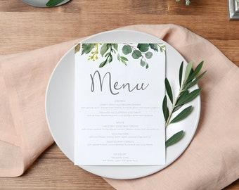 Greenery Printable Wedding Menu | Menu Template | Printed Menu | Menu Template | Botanical Wedding Menu | BRIBIE