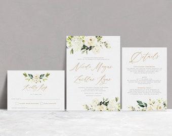 White Floral Printable Wedding Invitation, Rustic White Gold Wedding Invitation, Printable Wedding Invite, ADELINE