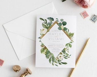 Greenery Wedding Invitation | Printable Wedding Invitation | Botanical Wedding invitations | Printable Wedding | Wedding Invites | BRIBIE