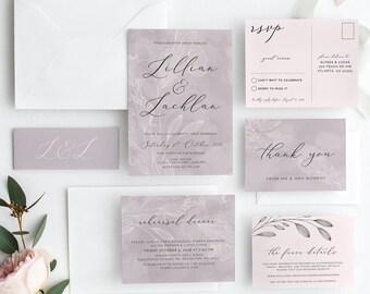 Printable Wedding Invitation | Lavender Blush Wedding | Wedding Invitations | Printable Invitations | Vintage Wedding Invite | MIA