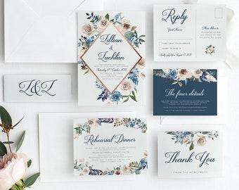 Printable Wedding Invitation | Navy Floral Wedding | Wedding Invitations | Printable Invitations | Rustic Wedding Invite | CHLOE