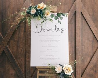 Printable Wedding Drinks menu board | Printable beverages menu | alcohol menu | Bar Menu | Large Menu Board  | BRIBIE