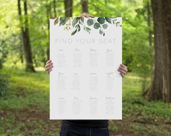Botanical Wedding Seating plan, banquet seating chart, Printable long tables wedding seating plan, wedding seating, wedding plan BRIBIE