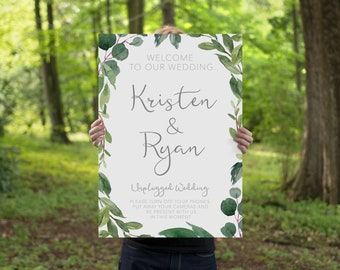 Unplugged Wedding Welcome Sign, Printable Welcome Sign, Unplugged Ceremony, Botanical Wedding Welcome Sign BRIBIE