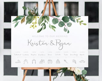 Wedding welcome sign, printable timeline welcome sign, wedding sign, wedding welcome, botanical timeline welcome sign BRIBIE