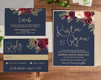 Wedding invitation, wedding invitations, printable invitation, wedding invite, template, navy gold marsala wedding invites LUCY SUITE