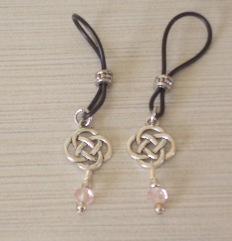 Celtic Knot with Pink Bead Drop