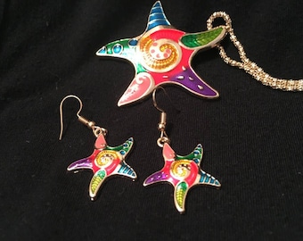 Starfish necklace & earrings set