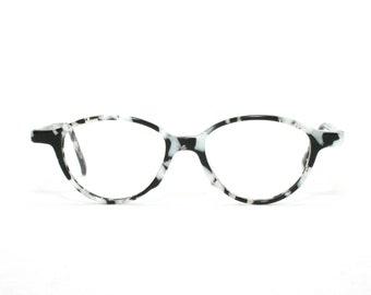 4d6c64b0fc Vintage Eyeglasses Cowgirl Cow Pattern Black White Eye Glasses 80 s 90 s Eyewear  Oval NOS New Old Stock 80 s FREE SHIPPING 49-16-135 Medium