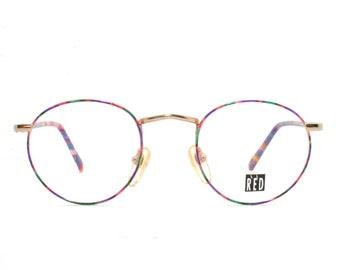 8e50dc68da6fcb Gelukkig Gold Retro brillen jaren 30 stijl ronde nieuwe oude voorraad 1980  de kleurrijke Frame NOS voorwaarde gratis verzending FulVue Panto  middelgroot