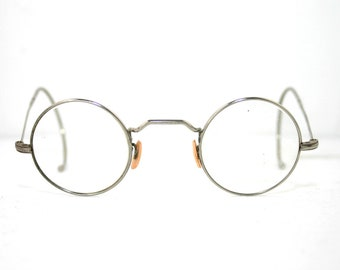 7b7891bd5d806 Antique Eyeglasses Nickel 1930 s 1940 s Round Panto Eye Glasses Frame Cable  Ends Coil Arms Temples w Case Reenactment