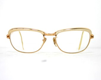 b20d72d14a Genuine Amor France 60 s Eye Glasses Silver w Gold Filled Frame FREE  SHIPPING Medium Size 50-18-135 Women s Lady Vintage