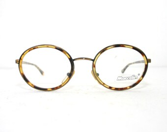 d7e810b0c2 Marcolin Italy Eye Glasses New Old Stock Frame Oval Shape Eyeglasses FREE  SHIPPING 50-22-135 medium large Tortoise Shell Gunmetal Brass