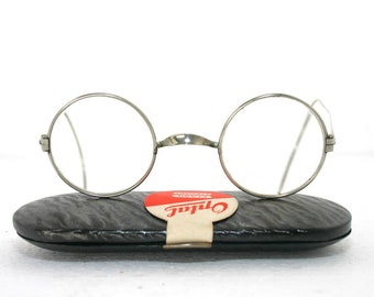 5606266a872 Antique Eyeglasses Nickel 1920 s 1930 s 1940 s Round Panto Eye Glasses Frame  Windsor Cable Ends Coil Arms Temples With New Case