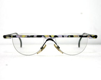 43c727127c22a2 Extravagante brillen Browline Modern 90  s artistieke roze geel zwart  kokosnoten 3326 1990 de glazen Frame nieuwe oude voorraad gratis  verzending-NOS