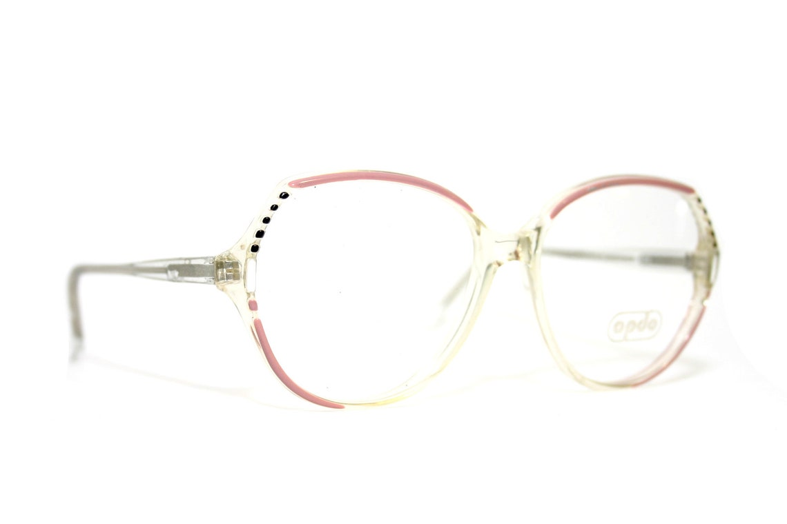 Transparent 80's Round Eyeglasses Frame Germany Eye Glasses Lady Women's FREE SHIPPING Medium Large Size New Old Stock NOS Pink 55-15-140