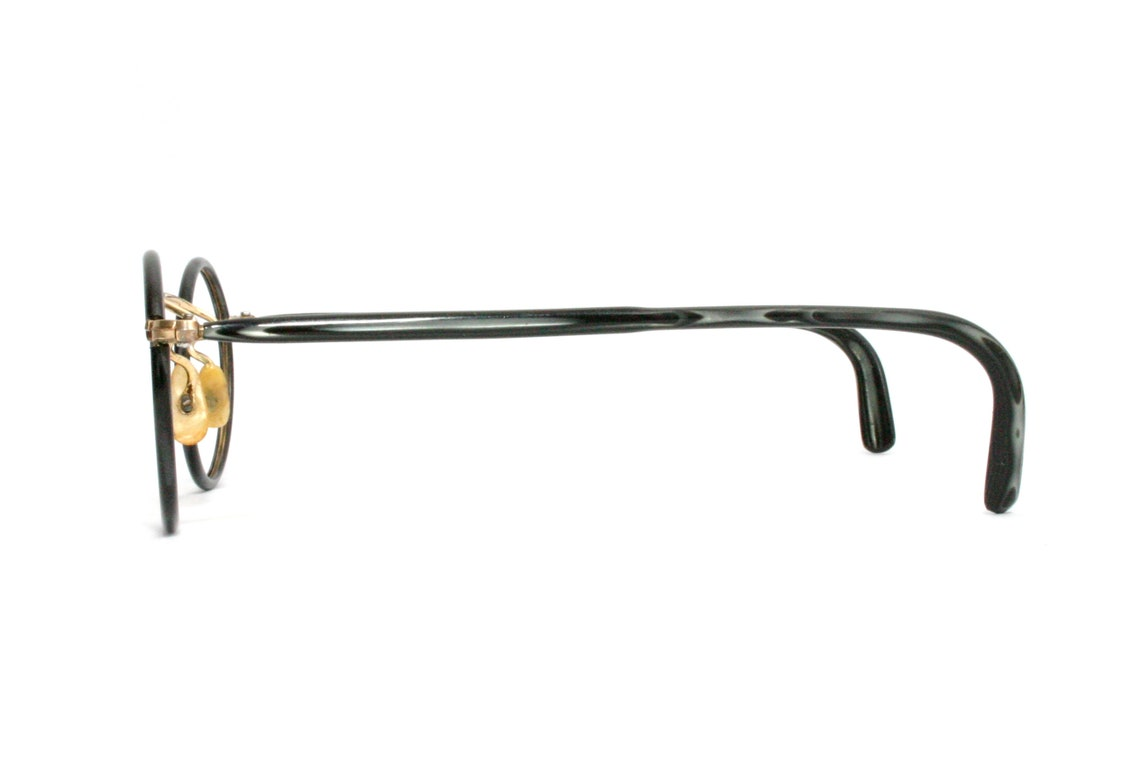 Delicate Eyeglasses Antique Gold Filled Windsor Panto 20's 30's Black Rims Eye Glasses FREE SHIPPING Straight Temple Arms Small XS
