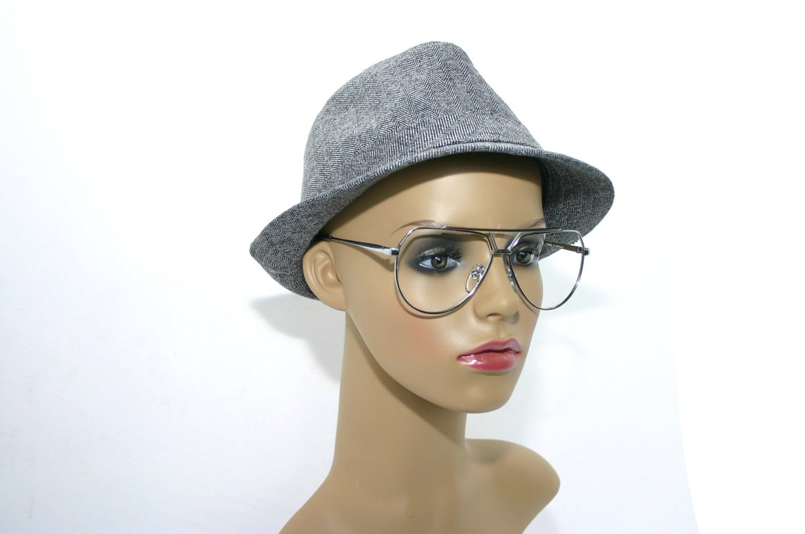 Perfect Men's Eyeglasses Aviator 80's Metal Silver Chrome Rockabilly Pilot Fieges Large New Old Stock NOS Eye Glasses Man FREE SHIPPING