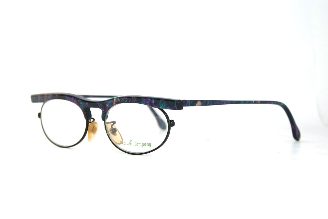 Eyeglasses Modern Browline Made in Italy Purple Green Blue Marble Eye Glasses New Old Stock NOS FREE Shipping Medium 48-18-135