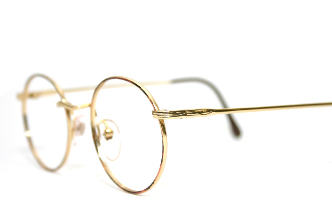 Gold Retro Eyeglasses 30's Style Round New Old Stock 1980's Frame NOS Condition FREE SHIPPING FulVue Panto Large Size