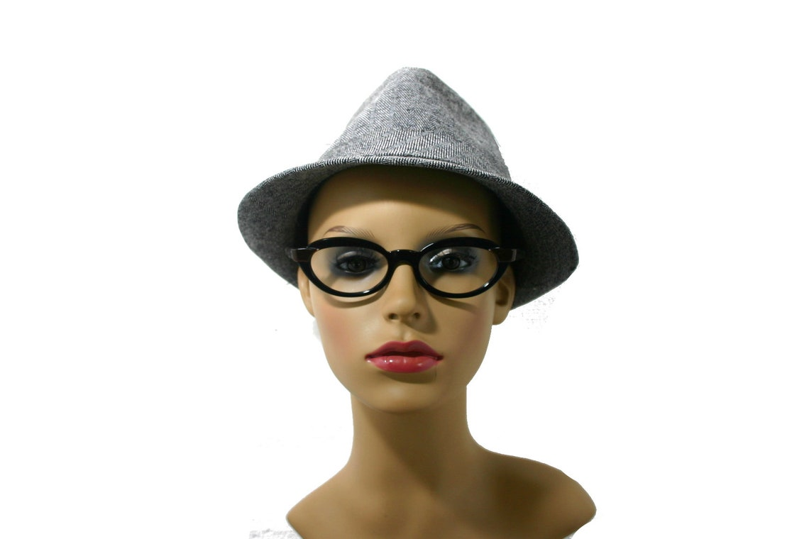 Saphira Black Cat Eye Glasses Genuine 60's Glossy Eyeglasses Medium Sized Frame FREE SHIPPING Rx New Old Stock NOS Oval Model Sirra 50-18-