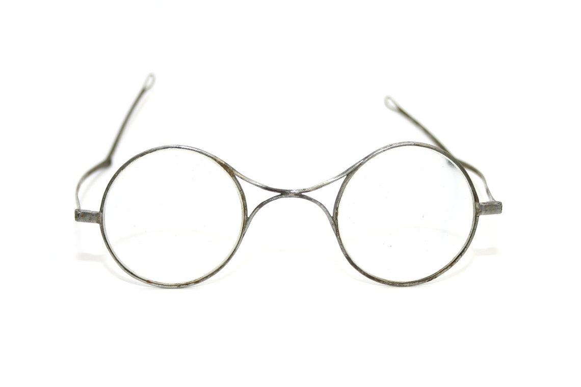 1800's Antique Eyeglasses BIG Round Eye Glasses X-bridge Turn Pin Legs Patina XL Large Size Georgian Victorian Period Reenactment