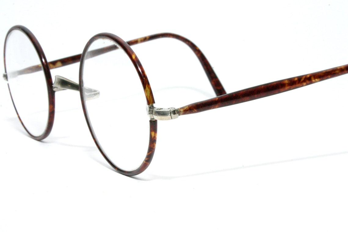 Antique Eyeglasses Nickel Tortoise Shell As New 1920's 1930's Round Eye Glasses Frame Windsor w Case Medium