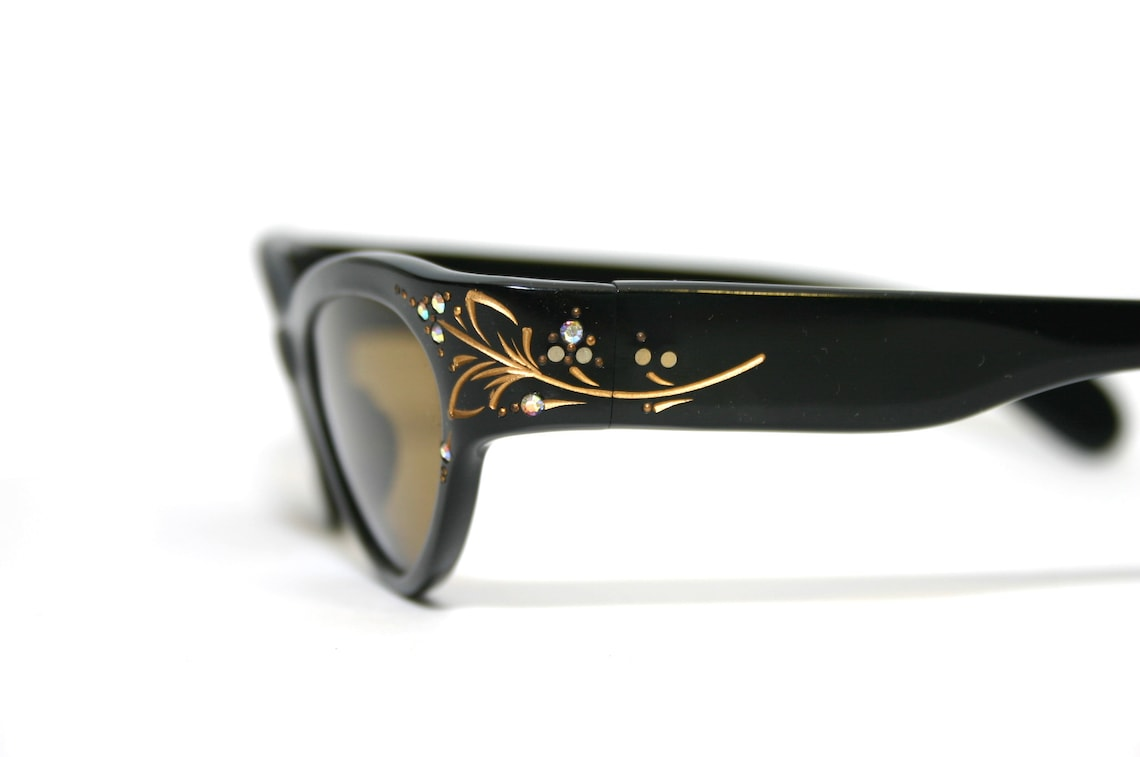 1960's Cat Eye Sunglasses True Vintage Rhinestones Black Gold FREE SHIPPING Medium Large Size Women Her Lady Woman Rockabilly Pin Up NOS New