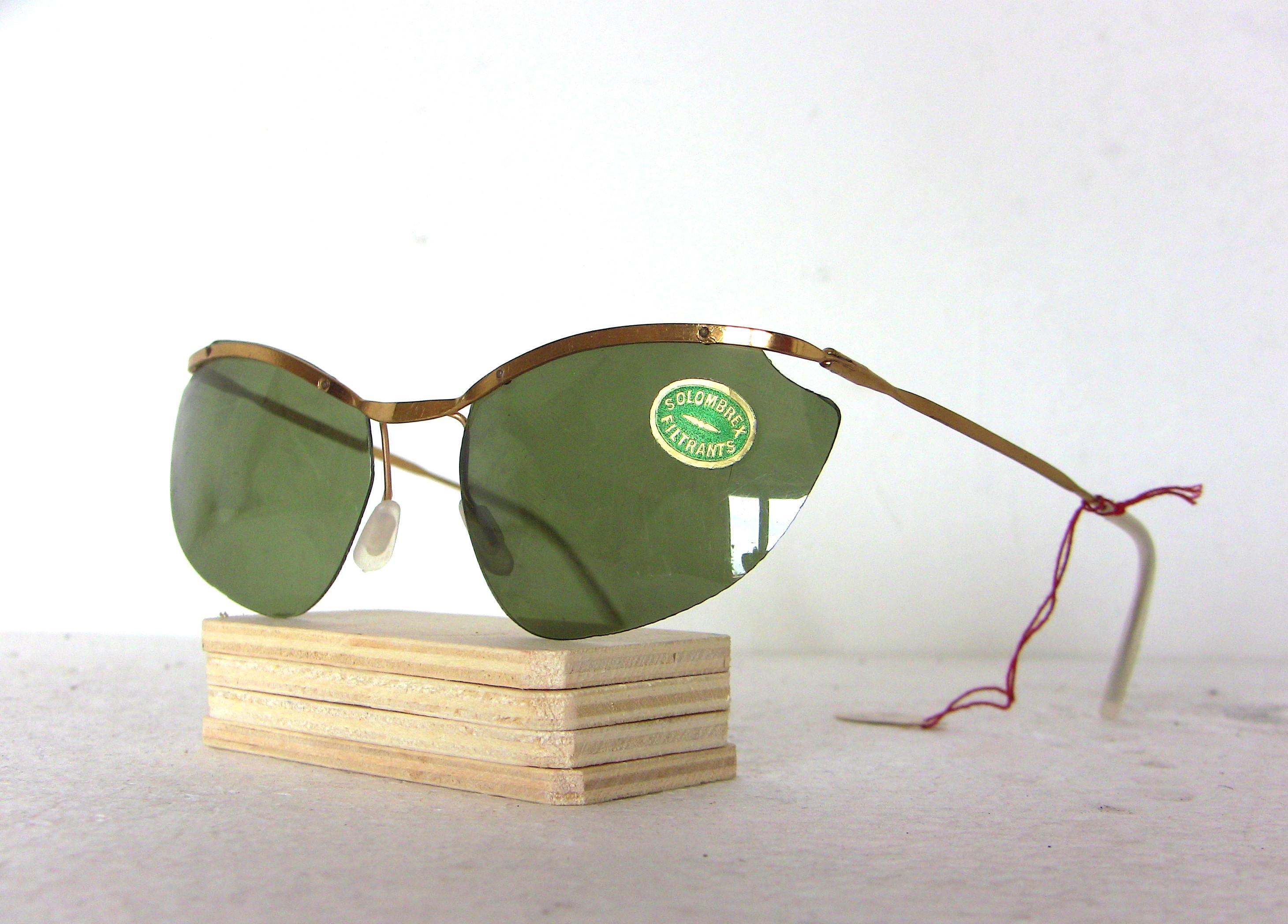 Weinlese-Frauen Sonnenbrille 60er Jahre Goldrand Grün Brille   Etsy