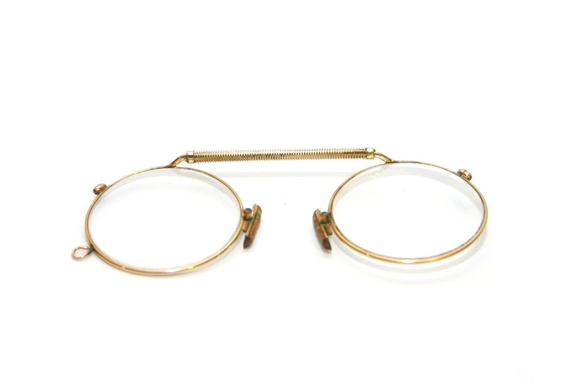 Antique Round Pince Nez Eyeglasses Gold Nose Pinch 1910's Frame FREE SHIPPING Spectacles Astig Bar-Spring Victorian Steampunk Reading +2.5