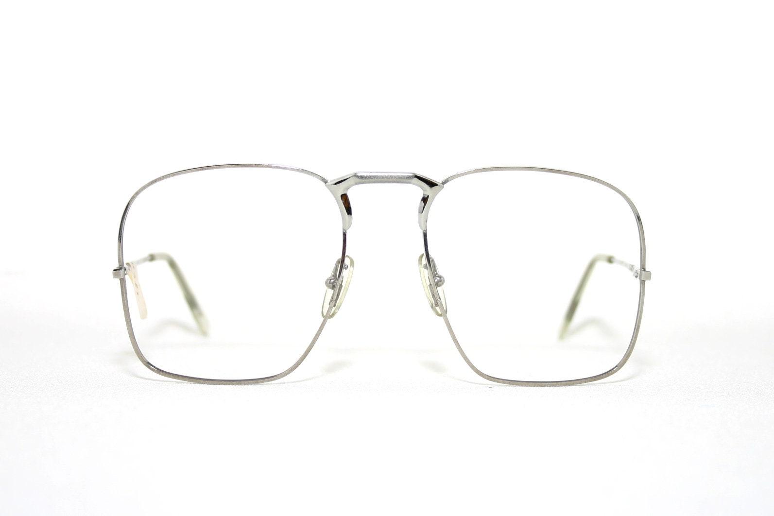 d4c65d88148 Conquistador Square Metal Eyeglasses Big Frame Silver Vintage