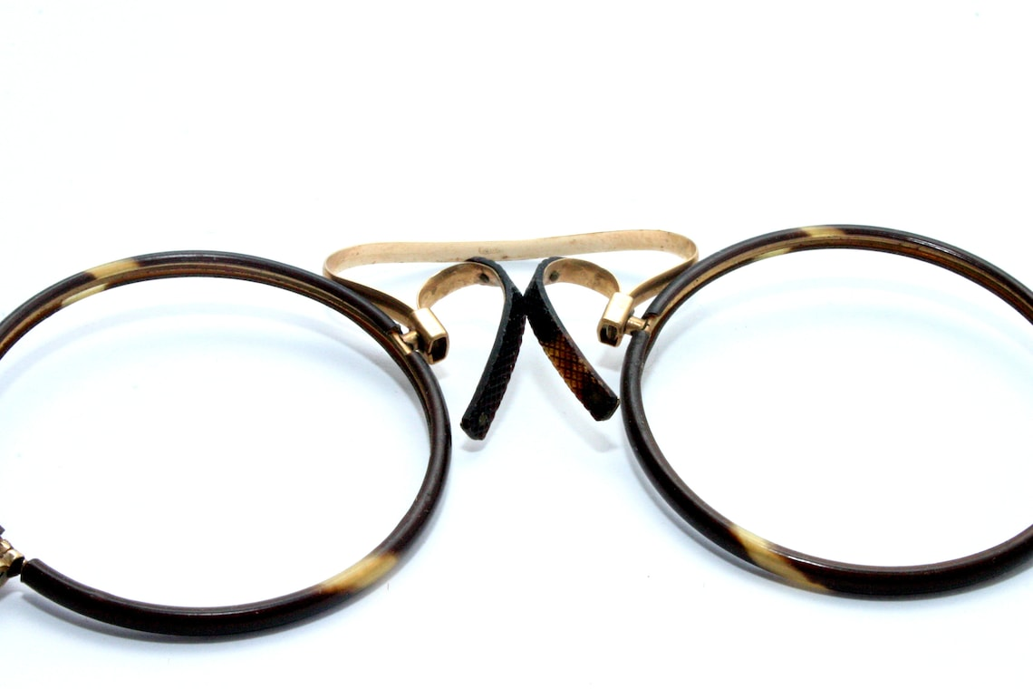 Antique Pince Nez Nose Pinch Gold Filled Eyeglasses NEW Old Stock NOS Round C-Bridge Tortoise Shell FREE Shipping 39mm Rodenstock