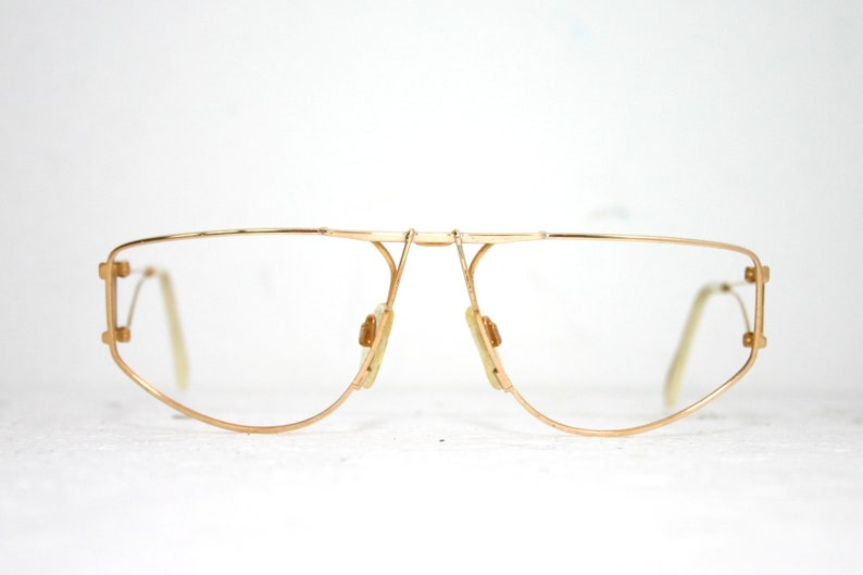 80's Eyeglasses Designer Quattro Gold Frame Large 60-17-135 FREE SHIPPING  Rx Eye Glasses NOS New Old Stock Cazal Style