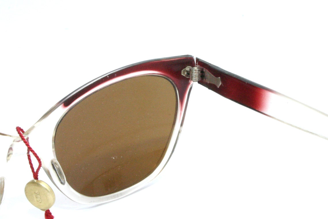 50's 60's Sunglasses Cat Eye Frame FREE SHIPPING Women Her She Gift Idea Lady Brown Lenses New Old Stock NOS Filtral