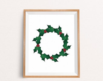 Wreath Printable, Wreath Decor, Christmas Printable, Christmas Prints, Christmas Printable Art, Christmas Wall Decor, INSTANT DOWNLOAD
