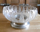 Old French Art Deco moulded glass dish compotier salad bowl
