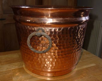 hammered copper old L LECELLIER Villedieu decoration french french bucket form copper bucket