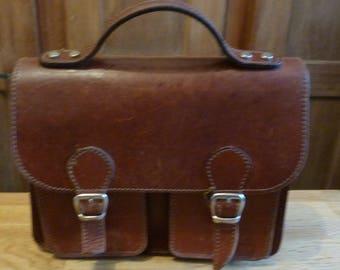 french vintage Briefcase leather bag satchel leather bag, schoolbag backpack style