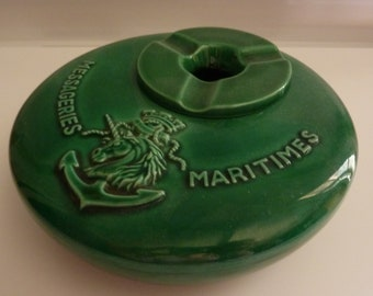 old MESSAGERIES MARITIMES deco porcelain ashtray marine nautical object french advertising ashtray advertising nautical seaside