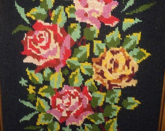 Tapestry has been stylized finished finished embroidered hand made needlepoint tapestry rose flowers bouquet