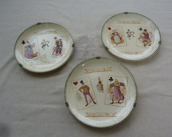 3 plates vintage french ceramic factory Choisy Le Roi theme playing cards with french antique supports flat
