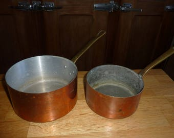 2 antique french copper pots form copper pans pot