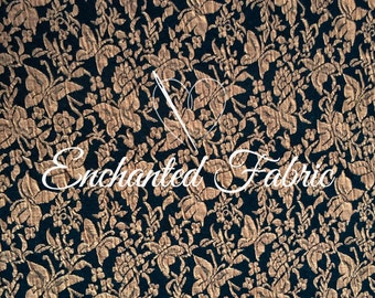 Garden Theme Jacquard Knit Fabric -  Navy-Taupe- 400