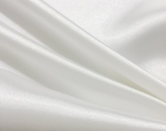 White Prom and Wedding Bridesmaid Dress Bridal Satin Fabric for Bridesmaids Dresses, Party Decoration Fabric, Prom Dresses  - 1101 White