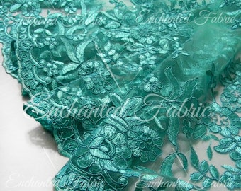 Aqua Embroidered Double Scalloped Wedding Lace, Bridal Lace, Bridesmaid Dress - EMB01